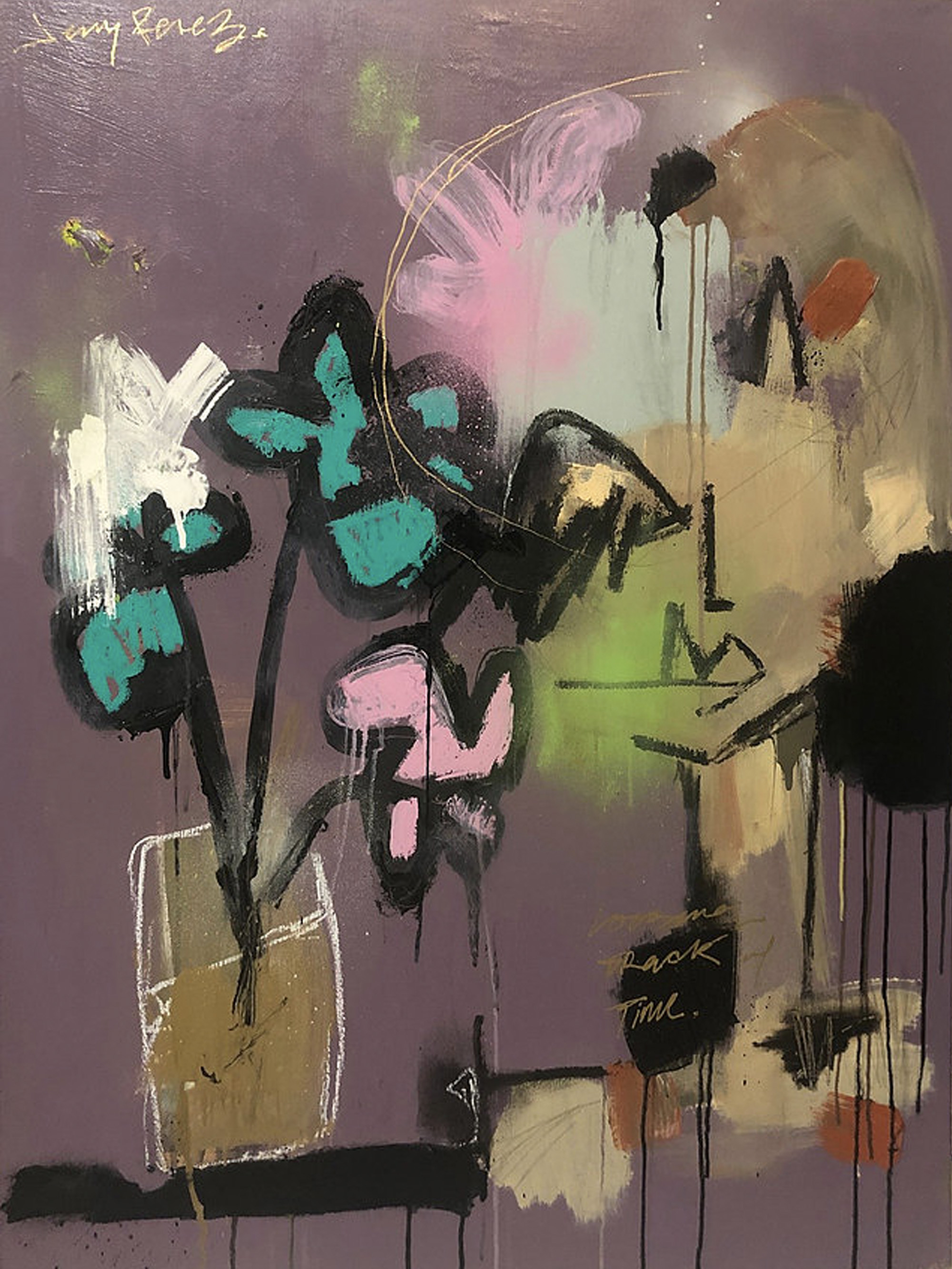 "Catching Feelings (Losing Track of Time) - 30"" x 40"" - Acrylic, aerosol and oil stick on canvas - 2018"