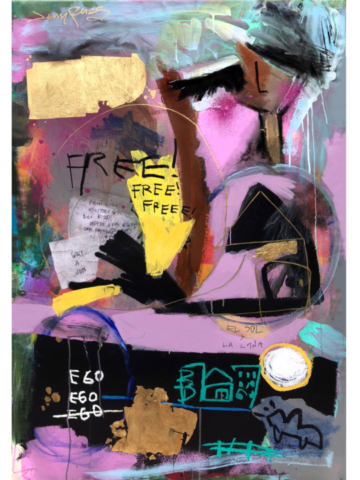 """Free Of Charge- 2017 - 32"""" x 48"""" - Mixed Media on Canvas"""