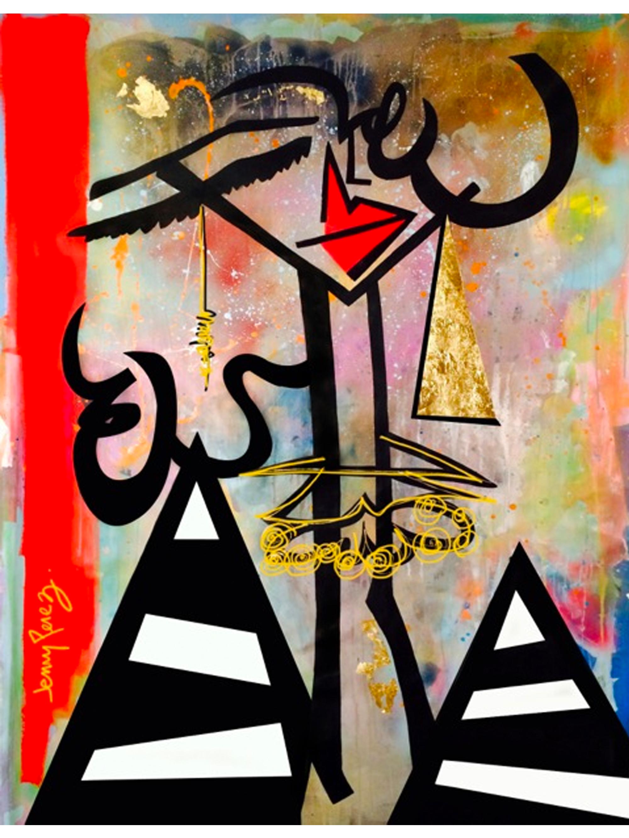 """Sugar Momma - 2013 - 71"""" x 52"""" - Acrylic and Gold Leaf on Canvas"""