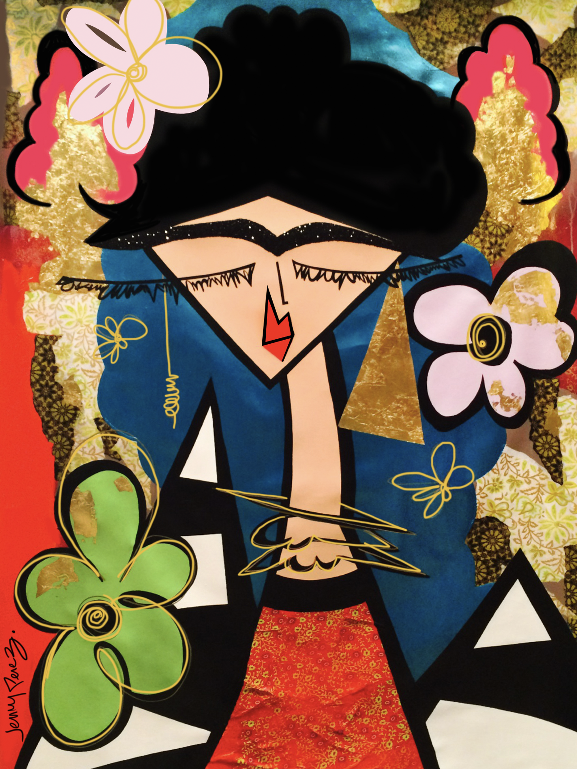 "Frida - 2014 - 70"" x 50"" Acrylic, gold leaf, paper, glitter on canvas"