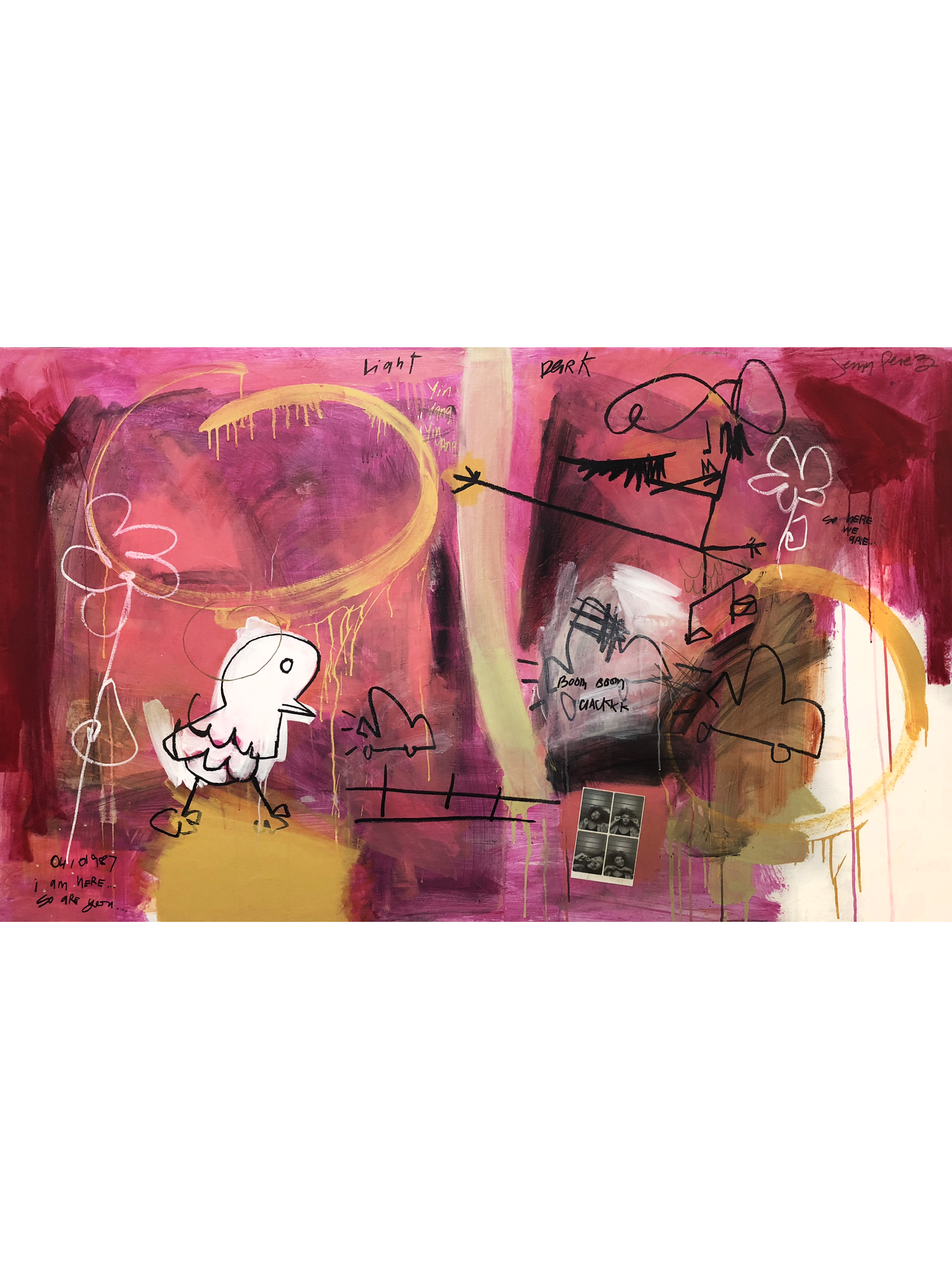 """Light and Dark - 37"""" x 60"""" - Acrylic, graphite, paper and oil on canvas"""