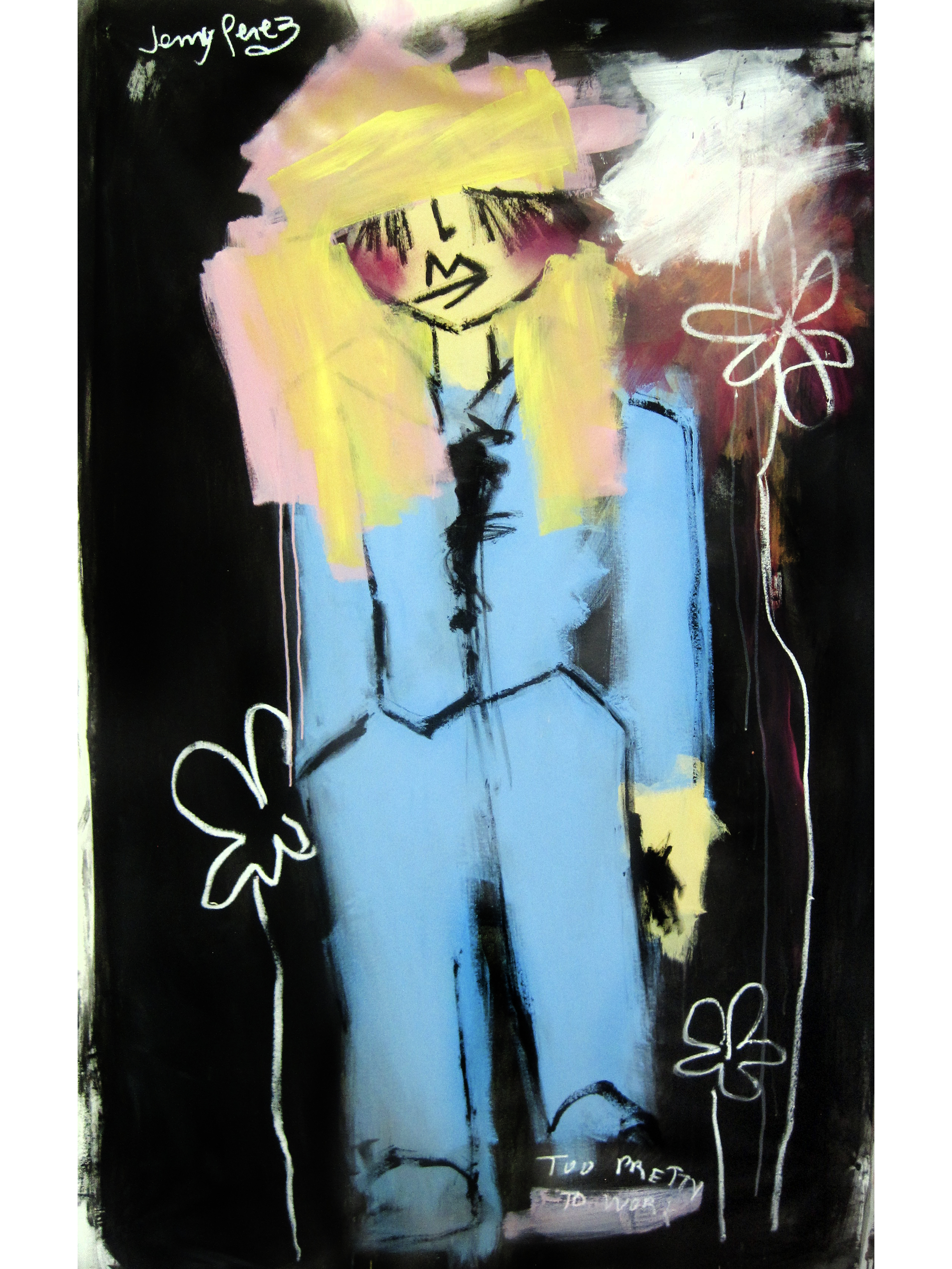 """Woman in a suit - 2017 - 44"""" x 70"""" - Acrylic and oil stick on canvas"""