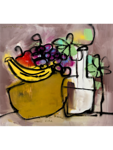 "A Still Life - 36 x 36""Acrylic, aerosol on canvas, 2020"