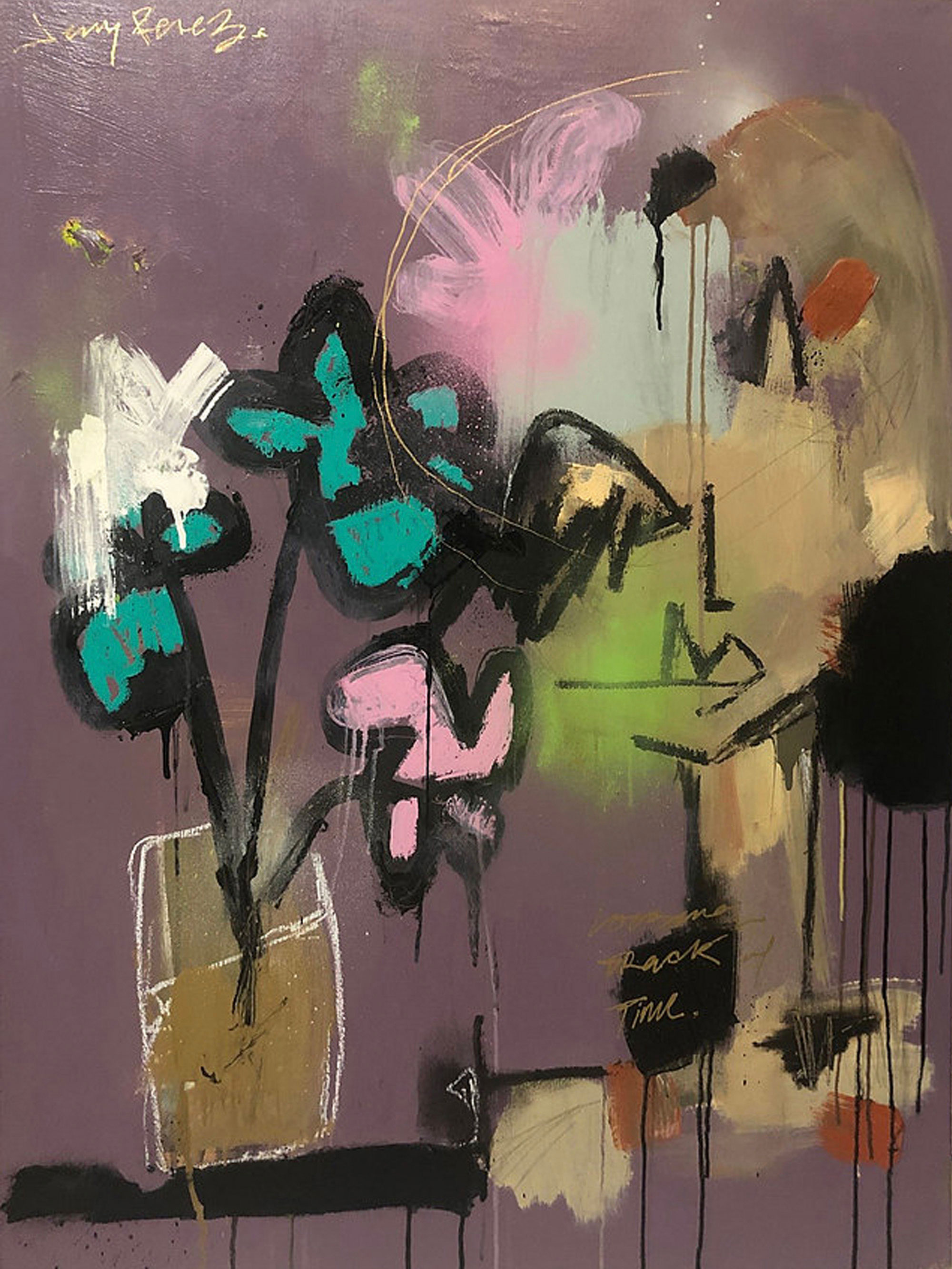 "Catching Feelings (Losing Track of Time)  - 30"" x 40""  Acrylic, aerosol and oil stick on canvas, 2019"