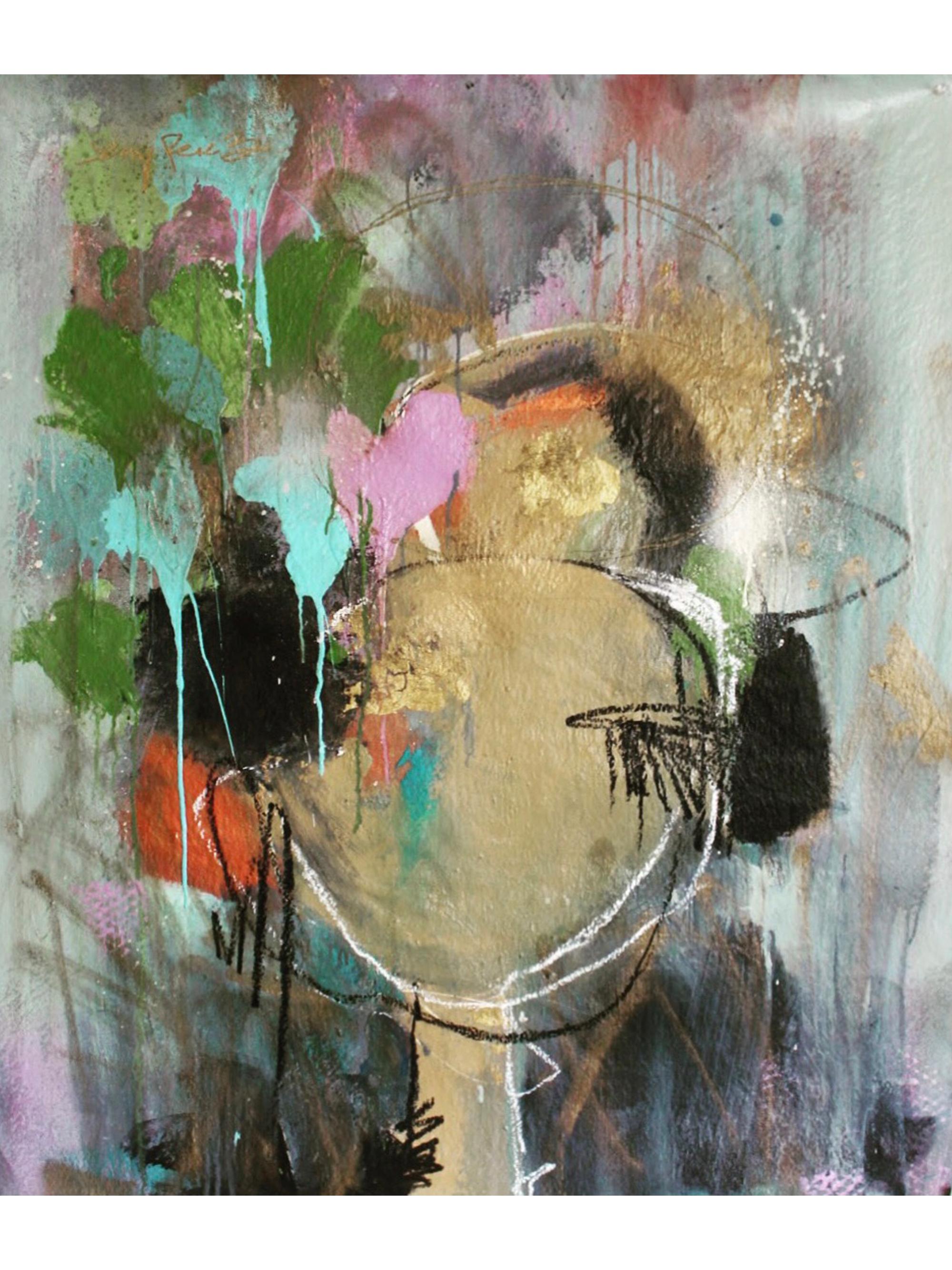 "Dreaming Awake - 44"" x 38"" Acrylic, aerosol and oil stick on canvas, 2018"