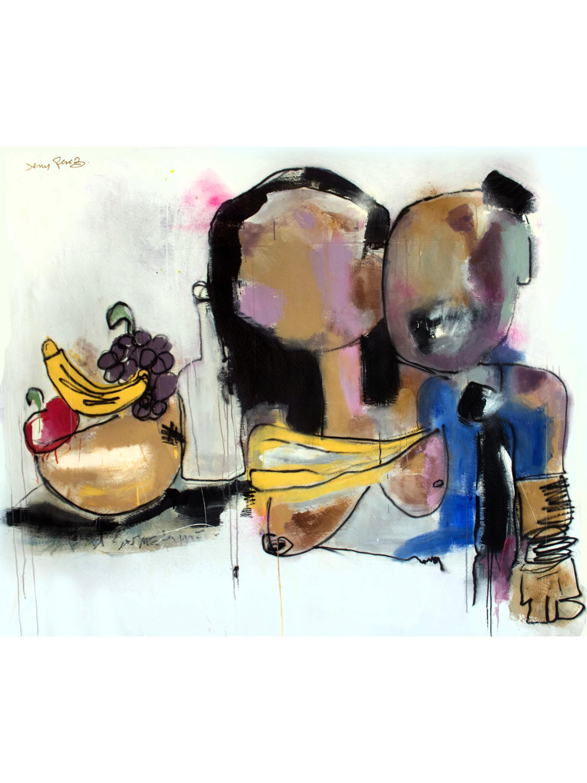 "Find Sometime - 58 x 70"" - Acrylic, aerosol, oil stick on canvas, 2019"