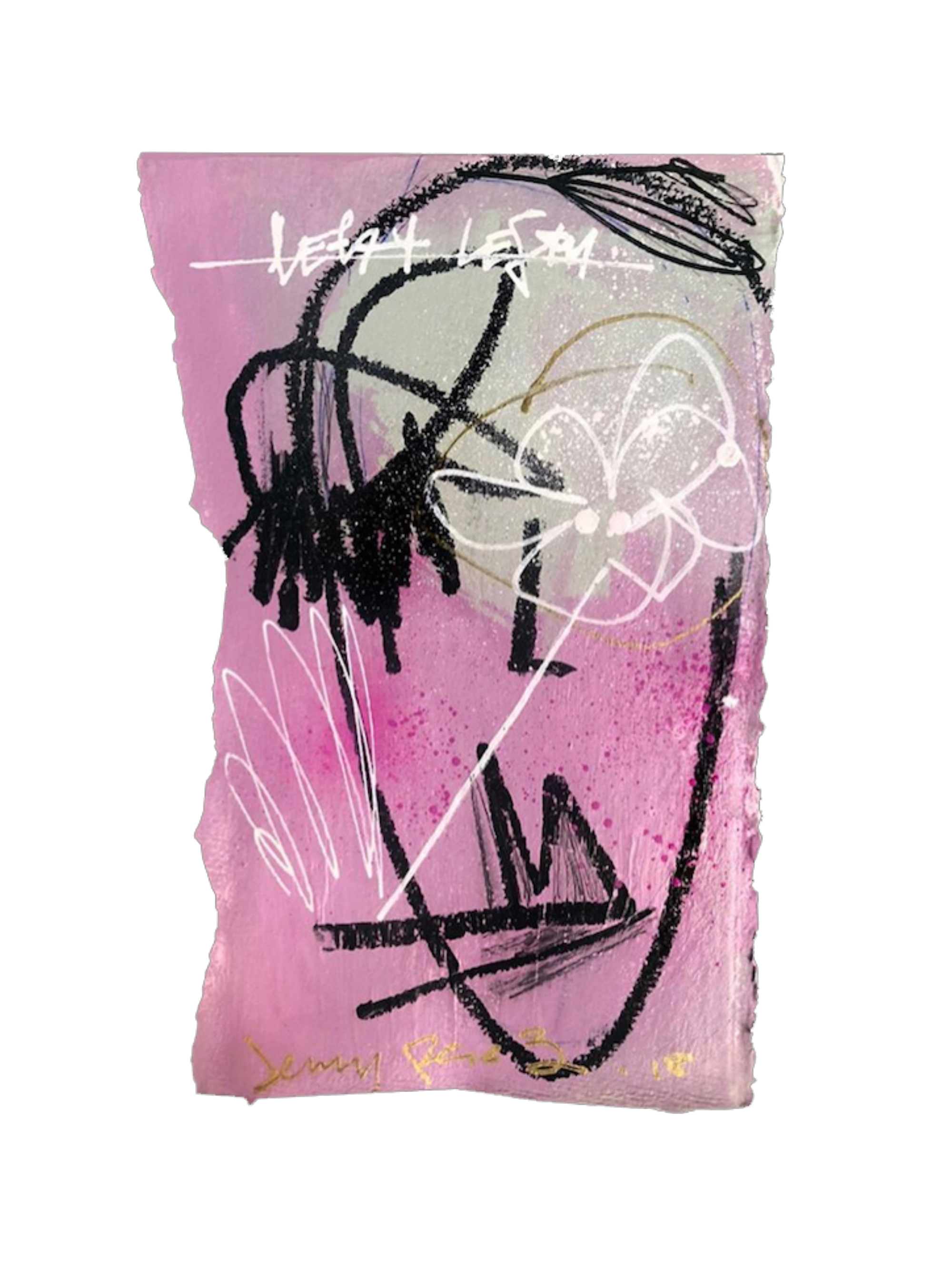 """Left Eye- 11"""" x 7.5""""Acrylic and oil on deckled edge paper, 2020"""