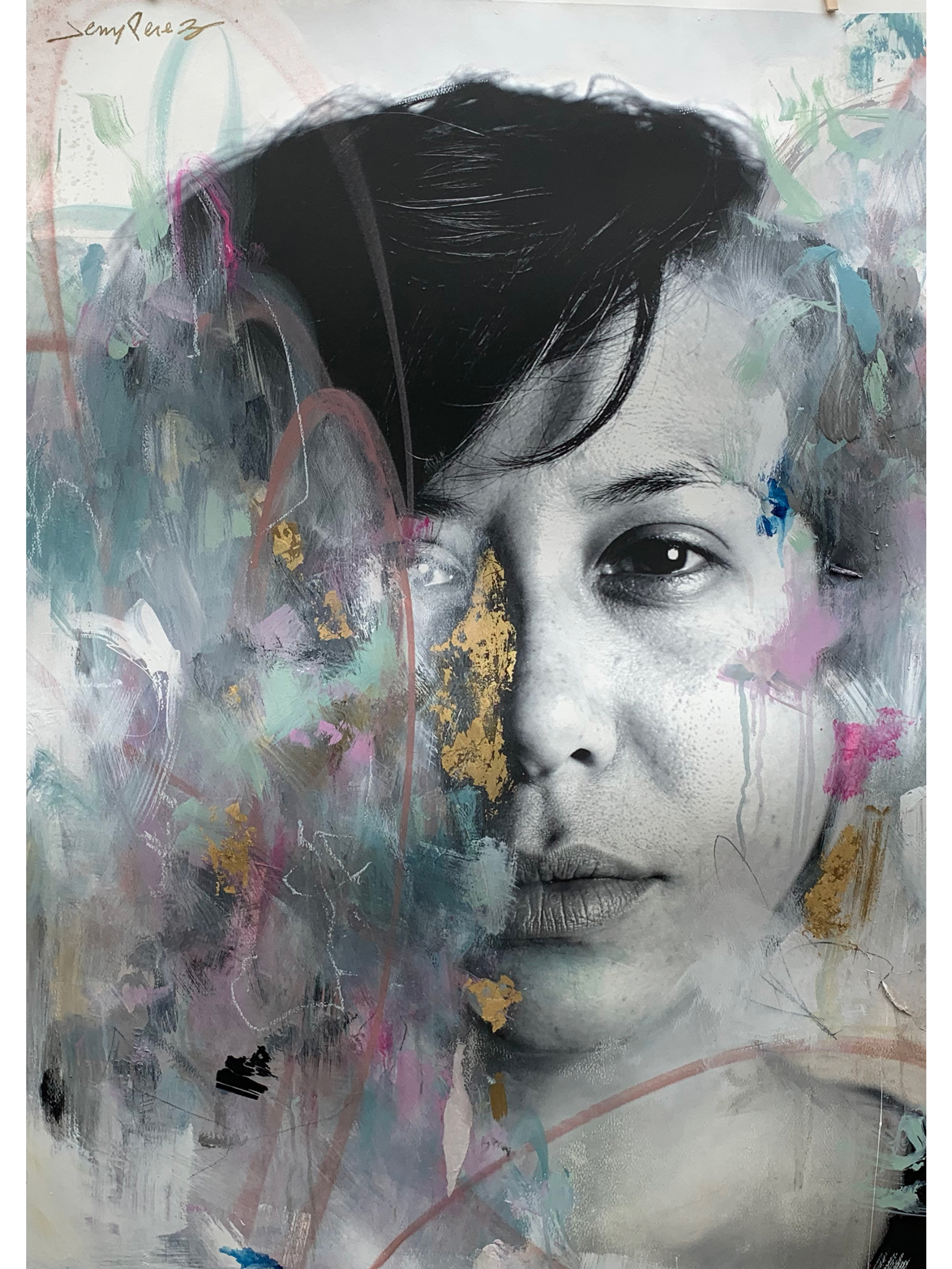 """Nabedi - 51"""" x 36""""Mixed media on paper, 2020"""