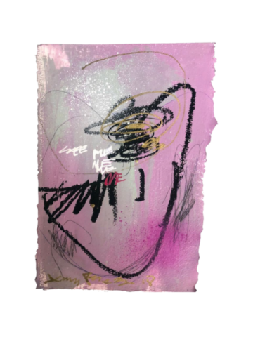 """See Me - 11"""" x 7.5""""Acrylic and oil on deckled edge paper, 2020"""