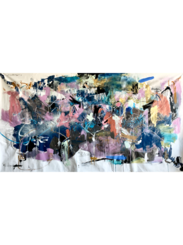 When the World Changed 7' x 9' - 2020 - Acrylic, aerosol and charcoal on canvas