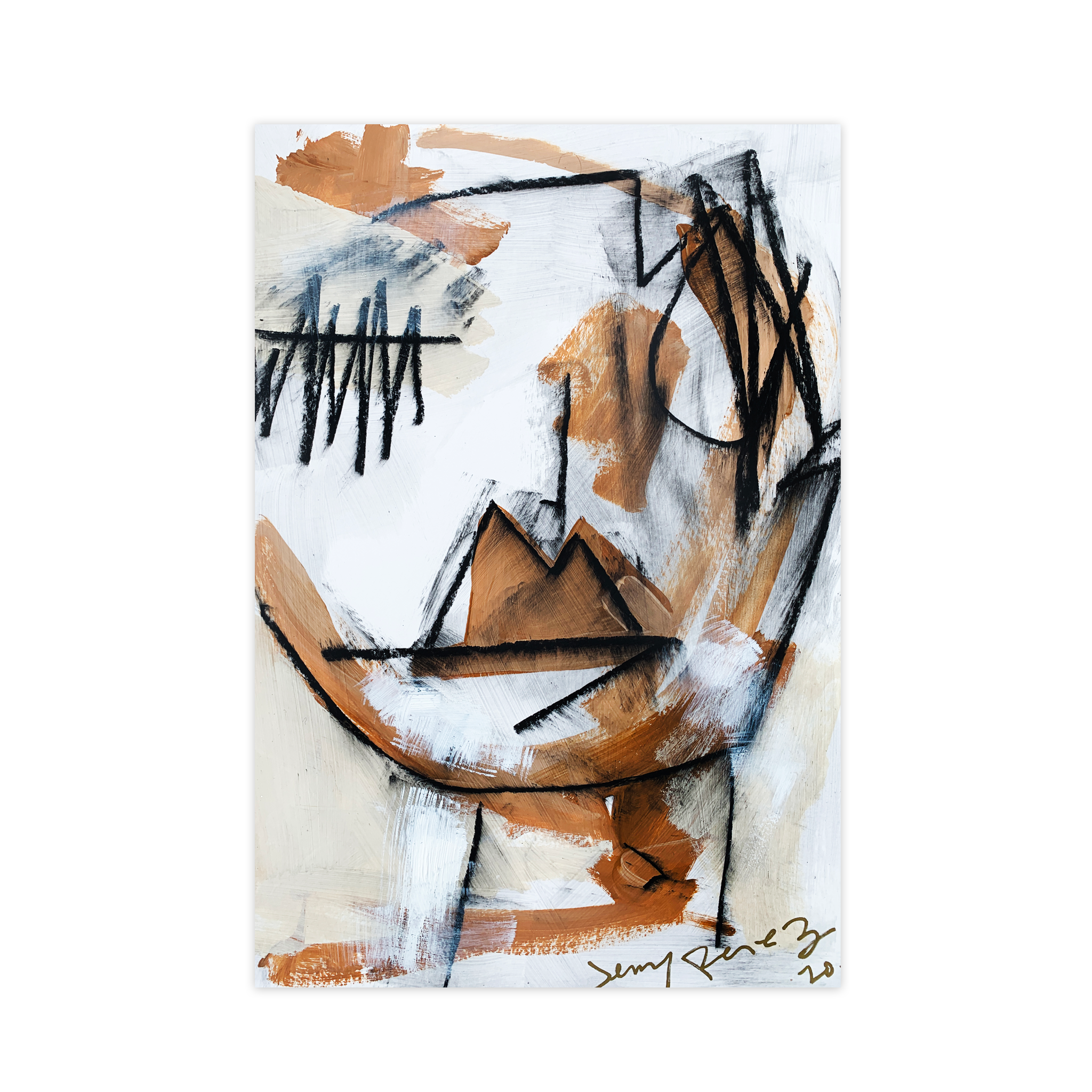 Strong Man - 18 x 12 inches. Acrylic and charcoal on watercolor paper.